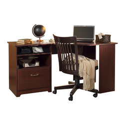 "Bush - Bush Cabot Corner Computer Desk in Harvest Cherry - Bush - Computer Desks - WC3141503 - The Bush Cabot Collection Corner Desk is the perfect solution for the tech-savvy office. The desk is designed to offer a wide-open 60"" of work space with everything you'll need to stay connected and clutter-free, including a charging station, an open cubby that doubles as a bookshelf or modem storage area, a filing drawer, and wire management system. Designed for years of use, the Cabot Corner Desk features full-extension ball-bearing drawer slides and a beautiful, durable Harvest Cherry finish."