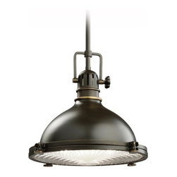 Kichler Lighting - Kichler Nautical Pendant Light with Fresnel Glass Lens - 2665OZ - Industrial styling for that classic, retro look. A Fresnel lens diffuses the light to reduce glare. Includes three 12-inch stem segments with an integrated sloped ceiling adapter. Takes (1) 150-watt incandescent A19 bulb(s). Bulb(s) sold separately. Dry location rated.