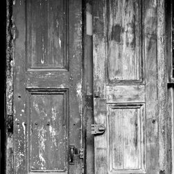 Door and Shutter, St. Peter St, New Orleans Artwork - Beautifully weathered and textured wooden door and shutter on an old building in New Orleans famous French Quarter..  16in. x 24in. resin coated (RC) silver-based photograph on luster surface paper. Borderless, mounted on rigid board, and signed au verso. Ships well-packed flat in a rigid box.  Other sizes are available. Send a message for pricing.