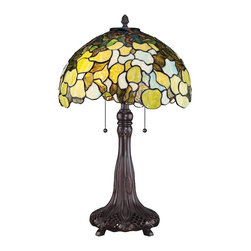 "Quoizel - Tiffany Quoizel Riverbank Tiffany Style Table Lamp - Bring the beauty of the outdoors indoors with this stunning art glass table lamp. The Tiffany style design will make a statement in any home. The round glass shade is an array of organic leaves draping down in a charming scattered pattern. A stylized Imperial Bronze finish metal base enhances the authenticity of this iconic home accent. Two lights are controlled by dual pull chains. This elegant Quoizel lamp will warm your home with its enduring glow. Leaf shade art glass table lamp. Rich Russet finish. Metal construction. Leafy round multicolor art glass shade. Shade constructed of 264 pieces of stained glass. Two max 75 watt bulbs (not included). 25"" high Shade is 16"" wide.   Leaf shade art glass table lamp.  Rich Russet finish.  Metal construction.  Leafy round multicolor art glass shade.  Shade constructed of 264 pieces of stained glass.  Two max 75 watt bulbs (not included).  25"" high  Shade is 16"" wide."