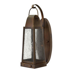 Hinkley - Sedgwick Sienna Small Outdoor Wall Light - - Sedgwick?s all brass construction symbolizes the best of vintage Hinkley quality and style. This traditional tapered rectangular lantern features a charming hinged door with sliding latch for authentic appeal. The classic Sienna finish combines beautifully with generous panels of clear seedy glass and embodies the essence of historic New England architecture and sophistication.  - Max Wattage: 60  - Glass: Clear Seedy Glass  - Material: Solid Brass Hinkley - 1770SN