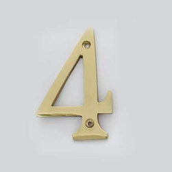 Cool House Numbers Solid Brass 3 Inch (100mm) Door Number 4 #2274 - SOLID BRASS 3 INCH (100MM) DOOR NUMBER 4 #2274