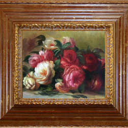 overstockArt.com - Renoir - Discarded Roses - Hand painted oil reproduction of a famous Renoir painting Discarded Roses. Today it has been carefully recreated detail-by-detail, color-by-color to near perfection. In the 1870's Renoir's Impressionist technique reached its peak, with glorious accomplishment. His fully defined technique rendered facial expressions and movements masterfully. He spent weeks and sometimes months perfecting his paintings. Why not grace your home with this reproduced masterpiece? It is sure to bring many admirers!