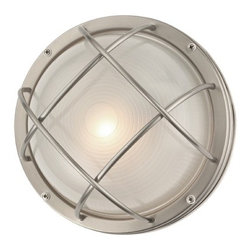Design Classics Lighting - Marine Bulkhead Round Outdoor Wall / Ceiling Light - 10-inches Wide - 39556 SS - Nautical outdoor wall / ceiling light in stainless steel finish. This bulkhead wall light can be mounted on the wall or ceiling. Takes (1) 100-watt incandescent A19 bulb(s). Bulb(s) sold separately. UL listed. Wet location rated.