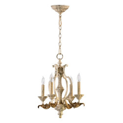 Quorum Lighting - Quorum Lighting Florence Traditional Chandelier X-07-4-7306 - From the Florence Collection, this Quorum Lighting chandelier features a heavier, more classic look. The wider framing is complimented by classic details, including large leaves and detailed bobeches. The candelabra lights play off the classic feel, with a Persian White finish to pull it all together.