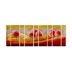 Pure Art - Raspberry Hill Tree Wall Art Set of 9 - A rush of sweet, delicious color in a large 9-panel wall art, this fantastical landscape artwork depicts three groupings of trees on mounds of hills that seem to ebb and flow under an abundance of sunshine. A bold and colorful presentation full of energizing contrast, movement and line, this piece offers a unique contemporary twist on traditional subject matter.Made with top grade aluminum material and handcrafted with the use of special colors, it is a very appealing piece that sticks out with its genuine glow. Easy to hang and clean.