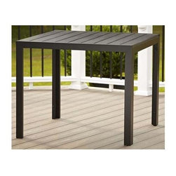Cosco Office - Outdoor Resin Slat Dining Table - Upscale appearance. Powder coated to resist rust. Warranty: One year. Made from metal. Black finish. 35.4 in. L x 34.4 in. W x 28.7 in. H (28.66 lbs.)Premium resin wood slat dining table specially made for outdoor use. Enjoy the appearance of a beautiful wood design without the worry of damage from outdoor use. The table top slats keep water from pooling, but are narrow enough to place any cup or glass on without tipping. All weather resin slats that give the look of wood with the durability of resin.
