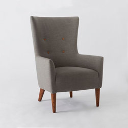 Victor Armchair, Linen Blend, Gravel with Pecan Buttons - This is an updated version of a classic wing chair. I'd put it in the corner of the living room, or maybe even at the head of the dining room table.