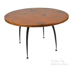 "Mathews & Company - Pinnacle Dining Table with 48"" Round Top - The Pinnacle Dining Table with 48"" table top features a modern style wrought iron base that comes in 4 custom finish options and your choice of a Copper, Zinc, Glass, Marble, or Wood table top. Pictured in Copper top and Black finish."