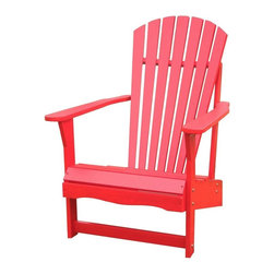 International Concepts - Wood Adirondack Chair - A bold and vibrant red will certainly liven up the landscape.  Solid pine and a durable polyurethane finish will give this Adirondack chair a long life in the sun or shade.  A classic beauty that takes center stage for comfort.  Imagine this attractive Adirondack styled chair on your porch, patio, or lawn, with its durable red finish providing your landscape with eye-catching color.  Beautiful pine outdoor chair is both functional and comfortable. * Reclined seat and wide armrests. Made of solid wood. Polyurethane finish. Minimal assembly required. 28.25 in. W x 34 in. D x 37.5 in. H (21.8 lbs.). Seat height: 13.7 in.. Arm height: 22.9 in.