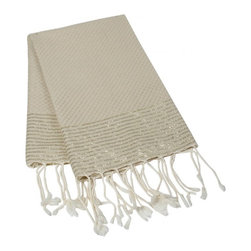 Gold Lurex Turkish Fouta - This beautiful turkish towel is made of 100% natural cotton. Hand woven by artisans. The more you wash it, the softer and more absorbent it becomes. Due to the generously sized nature of this fouta, it can be used as a towel, beach cover up, shawl or throw.