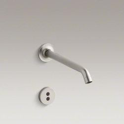 """KOHLER - KOHLER Purist(R) wall-mount commercial bathroom sink faucet trim with 8-1/4"""" 35- - Insight technology features an adaptive infrared sensor that gathers and analyzes the surrounding area upon installation. After recording these details, Insight calibrates the sensor to filter false triggers and optimize the faucet's operation."""