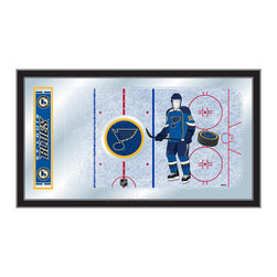 "Holland Bar Stool - Holland Bar Stool St Louis Blues Hockey Rink Mirror - St Louis Blues Hockey Rink Mirror belongs to NHL Collection by Holland Bar Stool The perfect way to show your team pride, our hockey rink mirror displays your team's symbols with a style that fits any setting.  With it's simple but elegant design, colors burst through the 1/8"" thick glass and are highlighted by the mirrored accents.  Framed with a black, 1 1/4 wrapped wood frame with saw tooth hangers, this 15""(H) x 26""(W) mirror is ideal for your office, garage, or any room of the house.  Whether purchasing as a gift for a recent grad, sports superfan, or for yourself, you can take satisfaction knowing you're buying a mirror that is proudly Made in the USA by Holland Bar Stool Company, Holland, MI.   Mirror (1)"