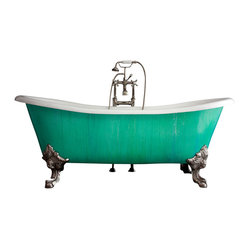 "Penhaglion - 'The Cathryn Adele' 73"" Cast Iron Slight Double Slipper Tub from Penhaglion - This freestanding bathtub with clawed feet is simply a showstopper for the bathroom. Or for even more drama, imagine it in your master bedroom or the garden, surrounded with plants. This gorgeous freestanding bathtub features a green and blue verdigris copper coated exterior, and a smooth cast iron enamel interior. The faucet fixtures and tub drain are all finished in polished nickel."
