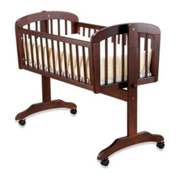 Sorelle - Standa Cradle in Cherry by Sorelle - This convenient Standa cradle moves upon sturdy rolling casters as necessary and can rock your newborn to sleep. It is constructed using durable wood with a cross-beam for added safety.