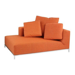 Pre-owned Contemporary Orange Chaise Lounge - A slim chrome tubular frame supports the thick single cushion seat and huge throw pillows of this impactful chaise lounge. Bright orange upholstery makes this lounger an energetic spot to perch yourself for a conversation or a drink!