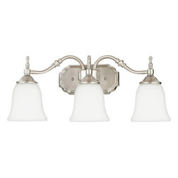 Quoizel Lighting - Quoizel TT8743BN Tritan 3 Light Bathroom Vanity Light, Brushed Nickel - Description: This timeless fixture features lovely bell-shaped shades that provide a bright, yet soft light, and the classic finish coordinates with many faucets styles.
