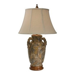 """The Natural Light - Natural Light Marbella Ceramic and Wood Table Lamp - The ceramic base of this table lamp features eye-catching texturing. The Hopsack beige bell shade tops the design. Make any table stand out with this stylish table lamp by Natural Light. Ashes of Vesuvius finish. Hopsack beige bell shade. Wood stand. Takes one 150 watt 3-watt bulb (not included). 34"""" high. Shade is 12"""" at the top 20"""" at the bottom and 13"""" on the slant.  Ashes of Vesuvius finish.   Hopsack beige bell shade.   Wood stand.   From The Natural Light table lamp collection.   Takes one 150 watt 3-watt bulb (not included).   34"""" high.   Shade is 12"""" at the top 20"""" at the bottom and 13"""" on the slant."""