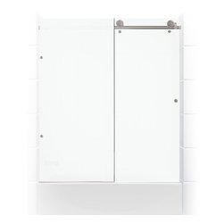 Coastal Shower Doors - Meridian Series (Tubs)   Frameless Sliding Barn Door   Coastal Shower Doors - MERIDIAN SERIES SHOWER DOORS - A FRAMELESS GLASS FIXED PANEL SLIDING BARN DOOR SOLUTION