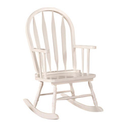 Monarch Specialties - Monarch Specialties Casual Juvenile Arrowback Rocking Chair in White - This juvenile rocking chair is the perfect addition to any child's room! This arrow Windsor back rocker has a curved top, soft serpentine arms that frame the seat, turned spindle supports, and has a classic white finish. Turned legs above the solid wood rocker base complete this charming look and add a certain country style warmth. What's included: Rocking Chair (1).