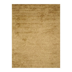 EORC - OSHG1GD Gold Handmade Wool and Viscose Gold Shaggy Rug, 8' x 10' - The contemporary styiling of this solid shag adds simple elegance to any room.