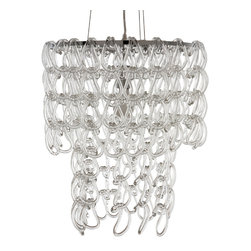 Nuevo Living - Letizia Petite Chandelier - Uniquely shaped glass hooks give this modern chandelier endless sparkle. Light from a single 75-watt bulb will dance around your room through the delicate chain of cascading glass. Hang this in your foyer for the ultimate contemporary design statement.