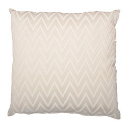 "Designer Fluff - Zigzag Pillow, 12"" x 20"" - Enjoy the understated texture and pattern of this bone white ziggurat pillow. The design adorns both sides and is matched at the seams, so the pattern is continuous. A concealed zipper keeps the feather/down insert discreetly in place, so nothing detracts from the fabric's graphic appeal."