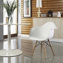 Modway - Modway Pyramid Dining Arm Chair - EEI-182-BLK - Shop for Home Furnishings and Accents from Hayneedle.com! If mid-century style was a pyramid the Modway Pyramid Dining Arm Chair would be at the very top. The solid wood base features metal accents for a delicate yet sturdy design. The ABS molded plastic seat provides a comfortable and cheery look while finishing off the striking modern look. Choose from available colors. Assembly required.About ModwayModway designs and manufactures modern classic furniture pieces for the contemporary home. The quality pieces are fresh and elegant with a distinctively updated appeal. Simple clean lines and a vibrant selection of colors and finishes make these pieces perfect for the home or office. A wide selection of products include pieces for the living room dining room bar office and outdoors. High-quality and innovative designs make Modway the premier company for luxurious modern style.