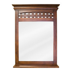 "Hardware Resources - Elements Bathroom Mirror - Nutmeg Lyn Mirror by Bath Elements. 26"" x 34-1/4"" nutmeg mirror with 3-1/2"" wide shelf and beveled glass. Corresponds with VAN055"