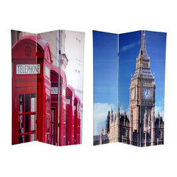 "Oriental Unlimted - Reversible 6 ft. Tall Big Ben & London Phone - One double-sided divider, both sides shown in image. Bring home a pair of stylish images from across the pond with these fine art photo prints of unmistakable London icons. On the front is an image of ""Big Ben"", the famous clock tower of the British Houses of Parliament, it's unique geometry accentuated by the cleverly cropped photograph. On the back is a row of instantly recognizable bright red London telephone boxes in declining perspective. These interesting, unique, attractive images provide a beautiful decorative accent for any living room, bedroom, dining or kitchen. This 3 panel screen has different images on each side. High quality wood and fabric covered room divider. Well constructed, extra durable, kiln dried Spruce wood frame panels, covered top to bottom, front, back and edges. With tough stretched poly-cotton blend canvas. 2 Extra large, beautiful art prints - printed with fade resistant, high color saturation ink, creating 2 stunning, long lasting, vivid images, powerful visual focal points for any room. Amazingly inexpensive, practical, portable, decorative accessory. Almost entirely opaque, double layer of canvas, providing complete privacy. Easily block light from a bedroom window or doorway. Great home decor accent - for dividing a space, redirecting foot traffic, hiding unsightly areas or equipment, or for providing a background for plants or sculptures, or use to define a cozy, attractive spot for table and chairs in a larger room. Assembly required. 15.75 in. W x 70.88 in. H (each panel)"