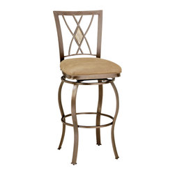 Hillsdale Furniture - Hillsdale Brookside Diamond Fossil Back Swivel 30 Inch Barstool - Our Brookside stools feature the lustrous depth and beauty of fossil stone and the classic effect of transitional designs. A thick patterned ivory colored fossil stone veneer graces the center of the sturdy powder coated metal backs of these stools. Stools are available in two styles, a more traditionally scrolled design which boasts an oval fossil stone motif and a more gracefully scrolled metal work, or a more transitional diamond fossil stone motif with a more angular, contemporary design. Both groups offer barstool seating in counter and bar height for your comfort, and all of the fabric on the stools have a micro suede for easy care and long lasting beauty.