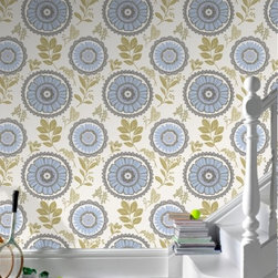 Amy Butler Lacework Blue Floral Wallpaper - Wow, this pattern just jumped out at me. Not sure I would use it on a massive wall or room, but in a powder room or on the back of bookshelves, absolutely.