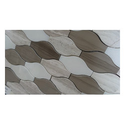 """GL Stone - Wooden Beige Wave Pattern Marble Mosaic Tiles, Mix Wooden Grey and White and Dar - Wooden Beige Marble Tile Its stunning design and unique pattern will bring warmth and a natural ambiance to your interior decor. The mesh backing not only simplifies installation, it also allows the tiles to be separated which adds to their design flexibility. Each sheet measures 10.50"""" x 11.50"""" (0.84 sq. ft.) This marble wall & floor tiles are perfect for any interior or exterior projects such as kitchen backsplash, bathroom flooring, shower surround, countertop, dining room, entryway, etc."""