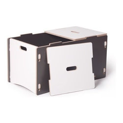 Sprout - Toy Box, Grey & White - This is a great toy storage solution and the perfect compliment to the product. Two lids lift off for easy access to everything inside, and prevent pinching little fingers. This toy box assembles quickly with no tools and no hardware. Interchangeable modular components let you simply snap parts together and even rearrange. A patent pending joint system is built right into the parts.