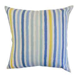 "The Pillow Collection - Islay Stripe Pillow, River 18"" x 18"" - Showcase a contemporary style to your interiors with this accent pillow."