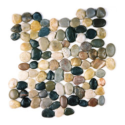 Indo Tile - Mixed Color Pebble Tile, Carton - Polished mixed color pebble tile, 100% natural Asian pebbles are assembled on interlocking mesh pattern for a seamless designer finish. A great looking  pebble tile with stunning tones of amber , browns, taupe, burgundy, grayish white and black stones artistically blended. The pebbles or ancient river rocks are sorted for color size and thickness ensuring the best gauge of pebbles for a uniform height and color pallet. The pebbles are then carefully reviewed again, hand selected then puzzled into a patented interlocking mesh pattern. The result is a premium pebble tile with superior consistency and quality. Each tile assembly is on a sturdy nylon mesh backing using an environmentally safe glue. The patented interlocking pattern is designed so the pebble tiles fit together seamlessly when installed.  The final installed result is a seamless field of pebbles with no detectable tile pattern.