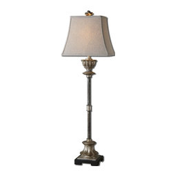 Billy Moon - Billy Moon La Morra Transitional Table Lamp X-71392 - The rectangle bell shade is an oatmeal linen fabric.