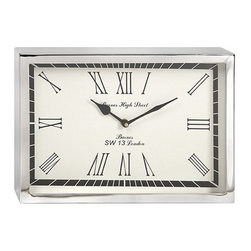 """IMAX - Wadsworth Small Wall Clock - This contemporary, art deco inspired wall clock will bring a sophisticated touch of mid-century aesthetic to office or home right on time. Item Dimensions: (8""""h x 12""""w x 2"""")"""