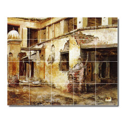 Picture-Tiles, LLC - Courtyard In Morocco Tile Mural By Edwin Weeks - * MURAL SIZE: 24x30 inch tile mural using (20) 6x6 ceramic tiles-satin finish.