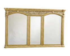 Provincial Grand Bathroom Mirror - Light - The Provincial Grand Mirror has a light finish with graceful side columns. In addition, the top has intricate carved details. Three mirrors give you plenty of room for you to look your best. It was made with the Provincial Vanity in mind, but it can easily go with other traditional and antique decors.