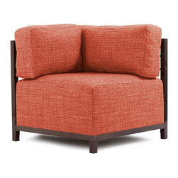 Howard Elliott - Coco Coral Axis Corner Chair - Mahogany Frame - At the height of fashion! Lounge in style on coco axis corners. Float the coco axis corner on its own or pair it up with additional corner, chair or ottoman pieces. This chair features boxed cushions with velcro attachments to keep the cushions from slipping and looking their best all of the time.