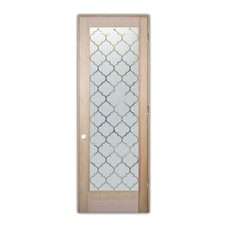 "Sans Soucie Art Glass (door frame material T.M. Cobb) - Interior Glass Door Sans Soucie Art Glass Ogee, Natural Unfinished Wood, Douglas - Sans Soucie Art Glass Interior Door with Sandblast Etched Glass Design. GET THE PRIVACY YOU NEED WITHOUT BLOCKING LIGHT, thru beautiful works of etched glass art by Sans Soucie!  THIS GLASS IS SEMI-PRIVATE.  (Photo is View from OUTside the room.)  Door material will be unfinished, ready for paint or stain.  Satin Nickel Hinges. Available in other wood species, hinge finishes and sizes!  As book door or prehung, or even glass only!  1/8"" thick Tempered Safety Glass.  Cleaning is the same as regular clear glass. Use glass cleaner and a soft cloth."