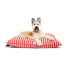 """Vintage Stripe Dog Bed - Red - 24"""" x 30"""" - Muted yet eye-catching for a subtly nostalgic, tranquil pattern, the Vintage Stripe Dog Bed is made from a cotton-hemp mix with a heathered effect, and its piped edge gives crisp tailoring to the pleasant softness of the bed. Plumply padded filling made from recycled plastic bottles maximizes sustainability while repelling mildew from the pleasingly-patterned pet bed."""