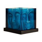 Foreign Affairs Home Decor - ANI - Square Buddha Head Candle Holder, Glass, Blue - Delightful Buddha Glass Candle Holders, Blue. Tealight not included