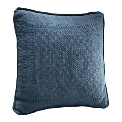 Historic Charleston Collection - King Charles Matelasse Provincial Blue 18-Inch Square Decorative Pillow-Only - - Steeped in Historic Charleston?s rich, classic style and decorative arts culture, the King Charles 100% cotton matelass� bedding collection offers a unique blend of European, Caribbean, and Asian influences.   - King Charles matelass� bedding offers a luxuriously soft bedspread, coverlet, bed skirt, shams and decorative accent pillows featuring classic 19th century motifs representing the sun, a topiary, a pheasant, and a pineapple.   - The superior design of the King Charles matelass� bedding ensemble can be traced back to England circa 1820, incorporating key influences from that time period including the fine arts and superior craftsmanship.   - Each piece is crafted individually on special weaving looms to create the luxurious design that defines this lovely matelass� bedding collection.   - Highs and lows created during the jacquard weaving process allow the intricate designs and motifs to come to life.   - Designs from the archives of Historic Charleston?s heritage, were interpreted to create the lovely King Charles bedding set.   - Rolling arches, half-moons, double diamonds and scrolling vine details wrap around the classic topiary, pheasant, sun and pineapple motifs.   - Coverlet and bedspread drape beautifully over the bed to reveal rounded corners.   - Pair the bedspread or coverlet with bed skirt to create a complete look.   - Add coordinating, decorative shams and pillows to create the ultimate bedroom oasis.   - The heavy-weight, stonewashed matelass� of King Charles bedding ensures life-long durability and style for generations to come.   - Crafted in Portugal.   - Stone-washed.   - 100% cotton matelass�.   - The Historic Charleston Foundation was established in 1947 and is a nonprofit organization whose mission is to preserve and protect the historical, architectural and material culture that make up Charleston?s rich and irreplaceable he
