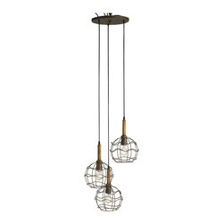 Kathy Kuo Home - Emery Industrial loft Round Wire Frame Trio Pendant Light - Designers love to play with contrasts and visual metaphors.  This trio of hanging industrial lights are certainly the result of this love. Echoing the sleek and sophisticated look of hanging ball pendant lights in their shape, these single bulbs are framed in the raw lines of wire.  The result is a unique industrial hanging pendant light.