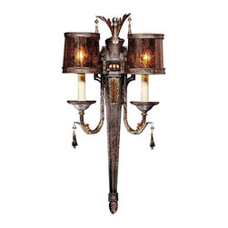 Frontgate - Sanguesa Two-Light Wall Sconce - Provides ample illumination while making a brilliant focal point for any room. Features Vidrio Artistico glass. Two-light Wall Sconce requires two 60-watt candelabra base bulbs (not included). Three-light Bowl Pendant and Three-light Semi Flush require three 100-watt medium base bulbs (not included). Eight-light Chandelier requires six 60-watt medium base bulbs and two 25-watt candelabra base bulbs (not included). Classic Mediterranean style and master craftsmanship make our Sanguesa Lighting Collection breathtaking to behold. Gorgeous metalwork with a Sanguesa Patina finish pairs handsomely with pen shell shades to provide a warm, stately glow for your dining room, kitchen, entry, or other featured spot.  .  .  .  .  . 14-light Chandelier requires 12 60-watt medium base bulbs (not included) and two 7-watt candelabra base bulbs (included) . 120V . UL listed . One year limited manufacturer's warranty . Some assembly required . Imported.