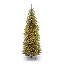 6 1/2 Ft. Kingswood Fir Pencil Christmas Tree w/ 250 Clear Lights - Measures 6.5 feet tall with 28 inch diameter. Pre-lit with 250 UL listed, pre-strung clear lights. Tip count: 719. All metal hinged construction (branches are attached to center pole sections). Comes in three sections for quick and easy set-up. Includes sturdy folding metal tree stand. Light string features BULB-LOCK to keep bulbs from falling out. If one bulb burns out the others remain lit. Fire-resistant and non-allergenic. Includes spare bulbs and fuses. 5-year tree warranty / 2-year lights warranty. Packed in reusable storage carton. Assembly instructions included.