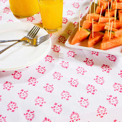 Pink  Linen Tablecloth - Sweet Nothings Table Cover, the beautiful piece adds polish to any social gathering and has a subtle Country French feel that will impress the most particular of guests.  Hand Block Printed from Attiser