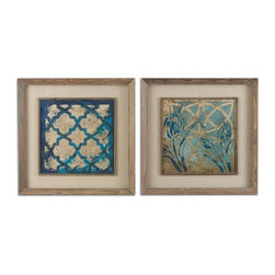 Uttermost - 41512 Stained Glass Indigo Decorative Wall Art Set Of Two In Taupe Wash / Multi - Uttermost 41512 Stained Glass Indigo Decorative Wall Art Set Of Two In Taupe Wash / Multi